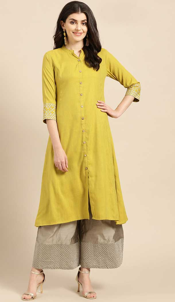 designs of cambric cotton kurtis with skirt -802497985