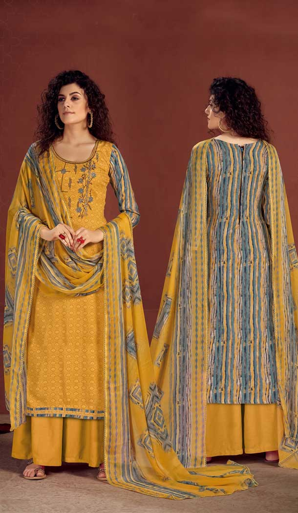 Yellow Color Pure Viscose Reyon Evening Wear Readymade Palazzo Suit -802998068