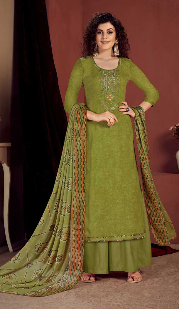 Olive Green Color Pure Viscose Reyon Evening Wear Readymade Palazzo Suit -802998071