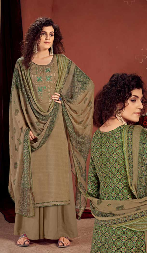 Beige Color Pure Viscose Reyon Evening Wear Readymade Palazzo Suit -802998074