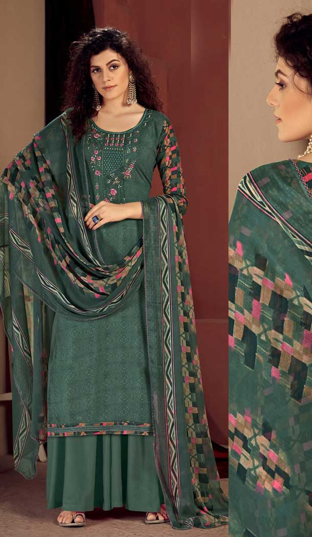 Steel Green Color Pure Viscose Reyon Evening Wear Readymade Palazzo Suit -802998075