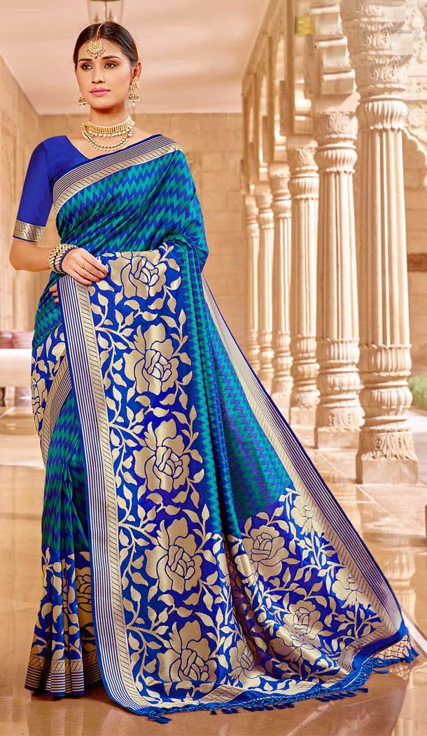 Adorable Blue Color Banarasi Silk Designer Traditional Wear Saree Blouse -804098143