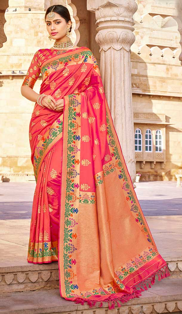 Two Tone Pink Color Banarasi Silk Designer Traditional Wear Saree Blouse -804098151
