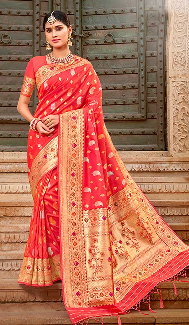 Tomato Red Color Silk Designer Traditional Wear Saree Blouse -804298164