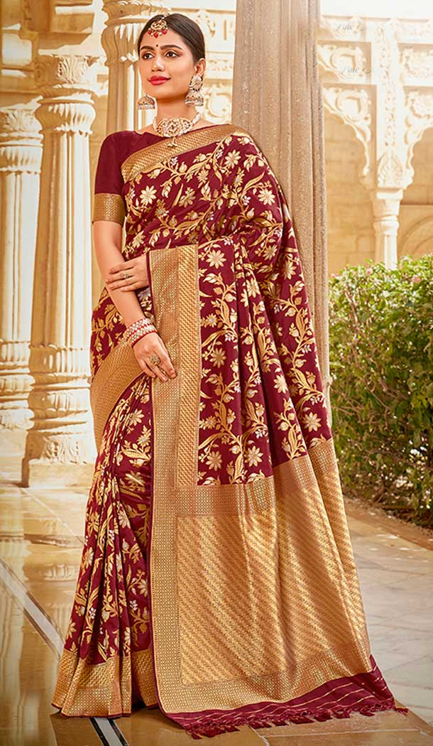 Maroon Color Silk jacquard Work Designer Traditional Wear Saree Blouse -804298170