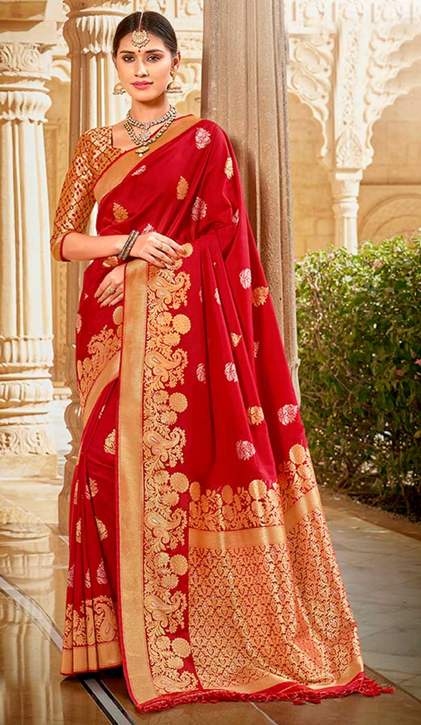 Red Color Silk jacquard Work Designer Traditional Wear Saree Blouse -804298172