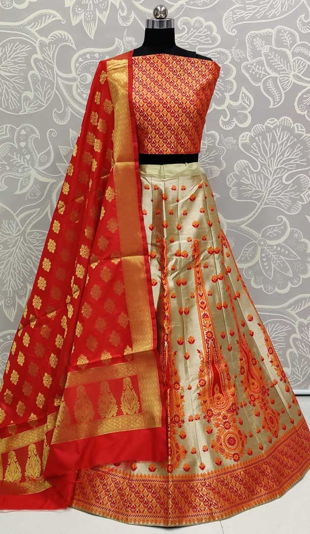 Fascinating Orange Color Art Silk Designer Traditional Wedding Wear Lehenga Choli -pf77106732