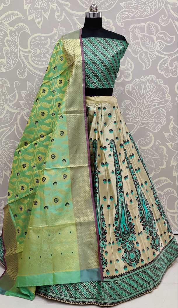 Green Color Art Silk Designer Traditional Wedding Wear Lehenga Choli -pf77106734