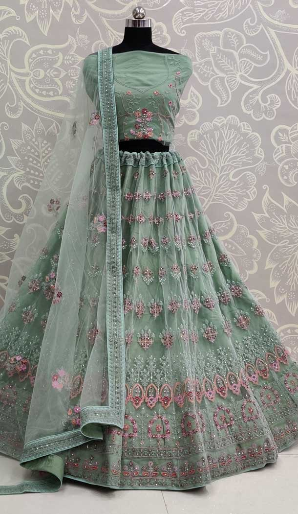 Pastel Green Color Net Designer Traditional Wedding Wear Lehenga Choli -pf77917688