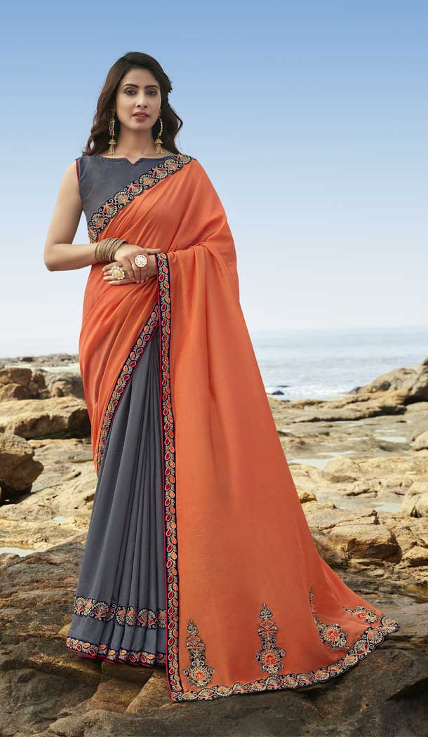 Orange Dark Grey Color Soft Art Silk Designer Party Wear Saree Blouse -77757252