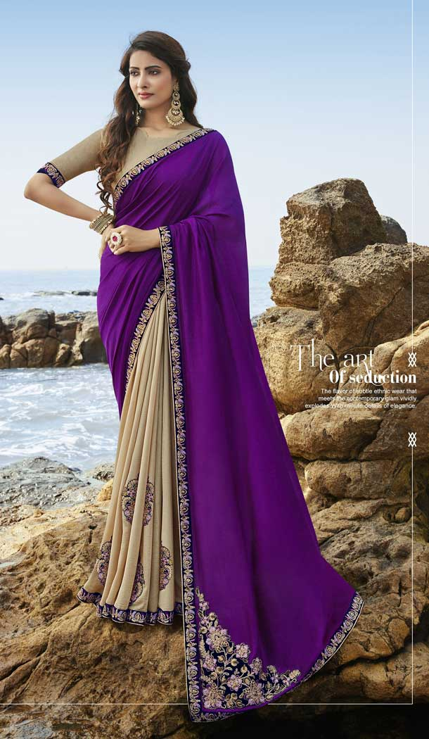 Purple Beige Color Soft Art Silk Designer Party Wear Saree Blouse -77757253