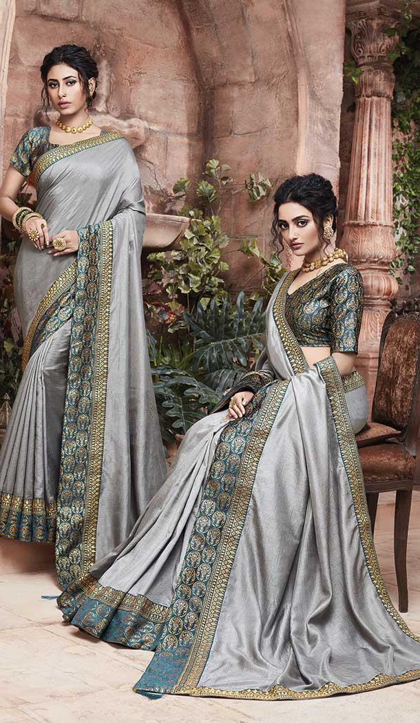 Grey Color Soft Art Silk Casual Party Wear Saree Blouse -77867648