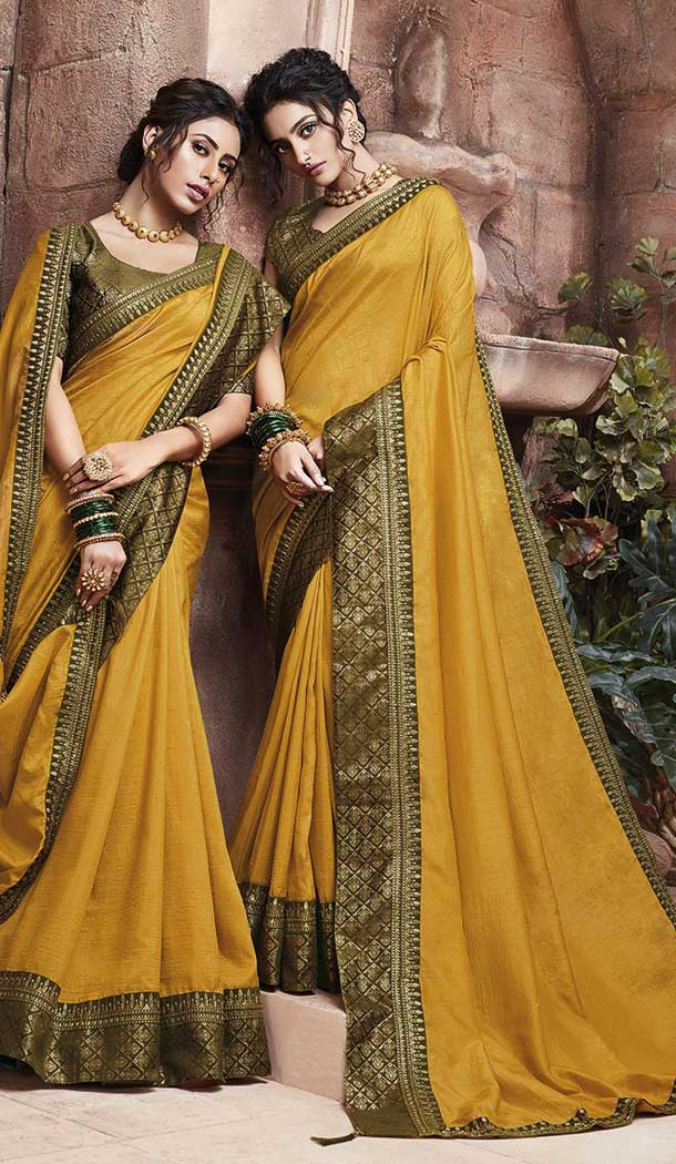 Musturd Yellow Color Soft Art Silk Casual Party Wear Saree Blouse -77867650