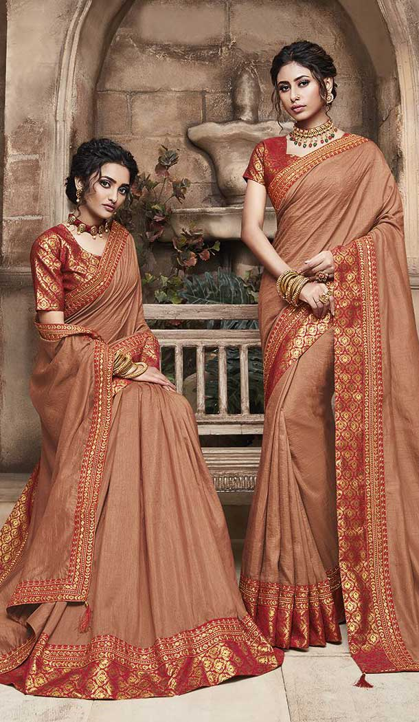 Brown Color Soft Art Silk Casual Party Wear Saree Blouse -77867651