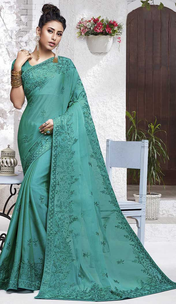 Turquoise Blue Color Chiffon Embroidery Casual Party Wear Saree Blouse -77927698