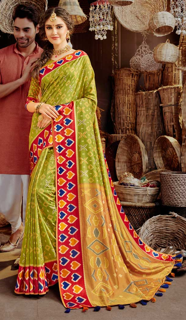 Olive Green Color Silk Printed Cassual Party Wear Fancy Saree Blouse -804998220