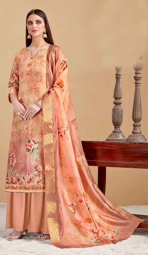 Peach Color Banarasi Jacquard Evening Party Wear Plus Size Palazzo Suit -808198609