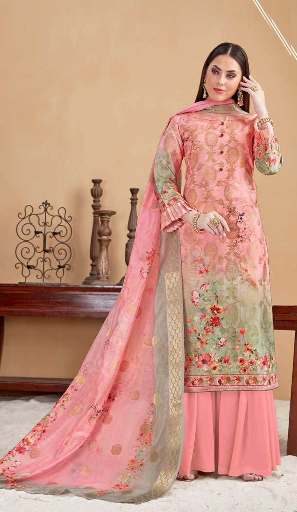 Peach Pink Color Banarasi Jacquard Evening Party Wear Plus Size Palazzo Suit -808198612