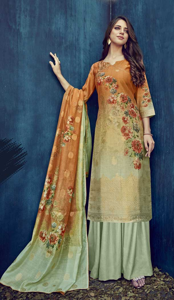 Pista Color Pure Banarasi Jacquard Casual Party Wear Palazzo Suit -808298614