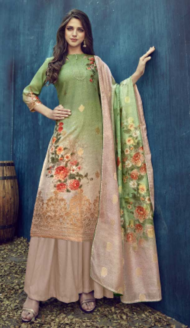 Cream Color Pure Banarasi Jacquard Casual Party Wear Palazzo Suit -808298617