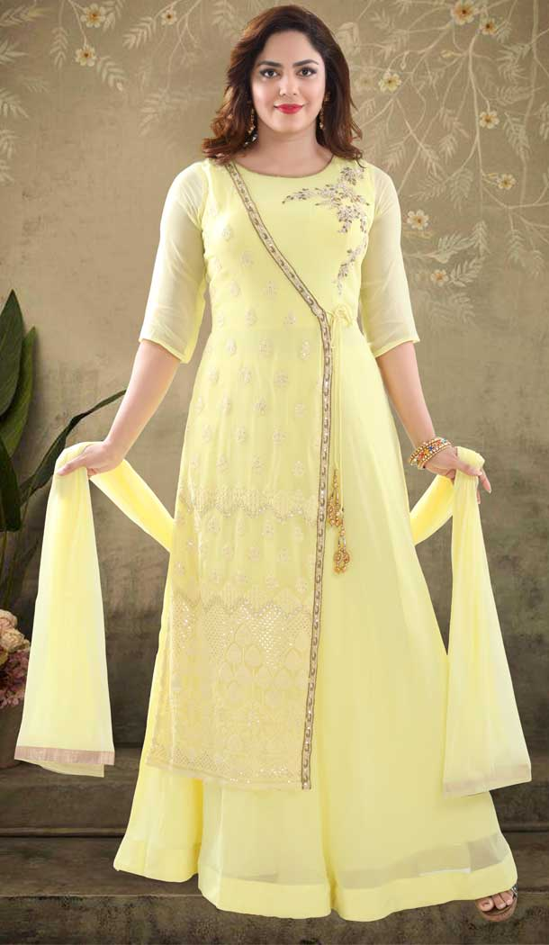 Yellow Color Georgette Heavy Designer Readymade Salwat Suit -810298824