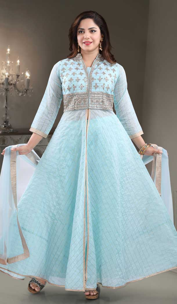 Blue Color Chanderi Heavy Designer Readymade Salwat Suit -810298826