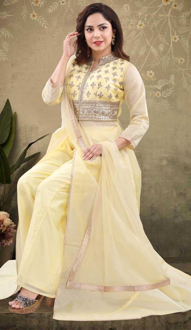 Yellow Color Chanderi Heavy Designer Readymade Salwat Suit -810298828