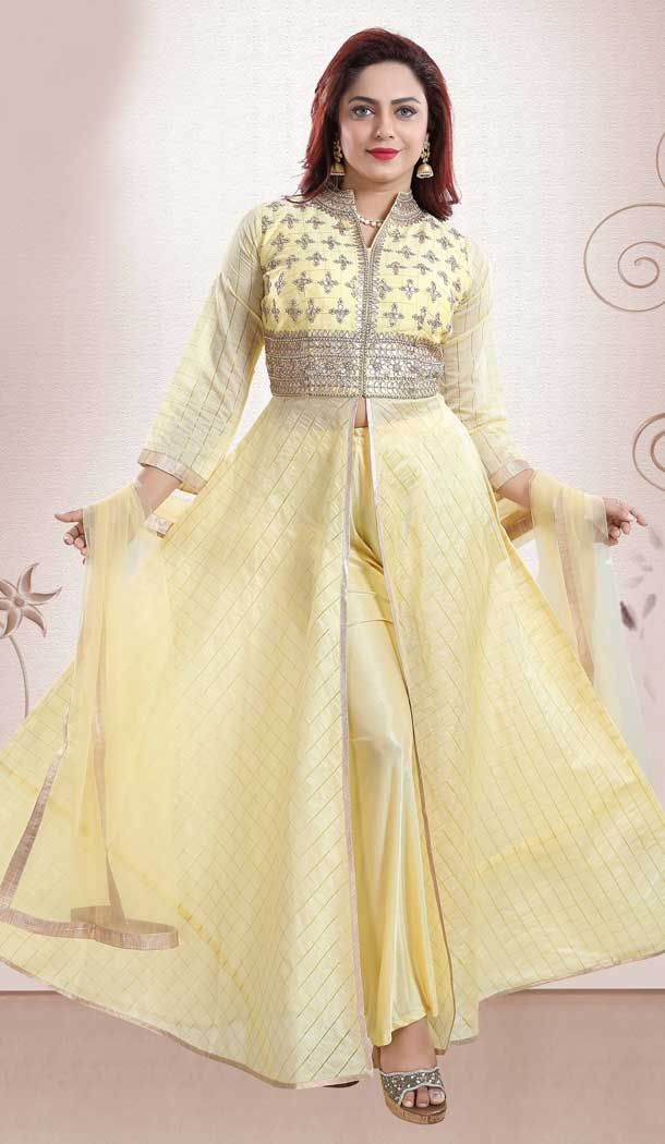 Yellow Color Chanderi Heavy Designer Readymade Salwat Suit -810298830