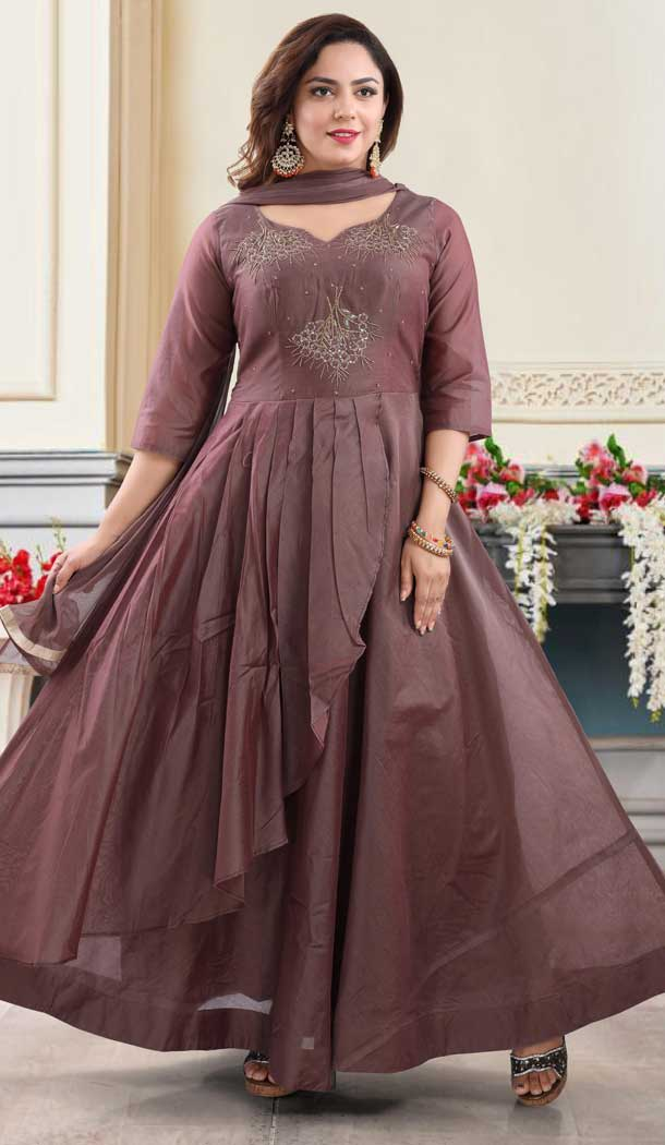 Brown Color Chanderi Heavy Designer Readymade Salwat Suit -810298832