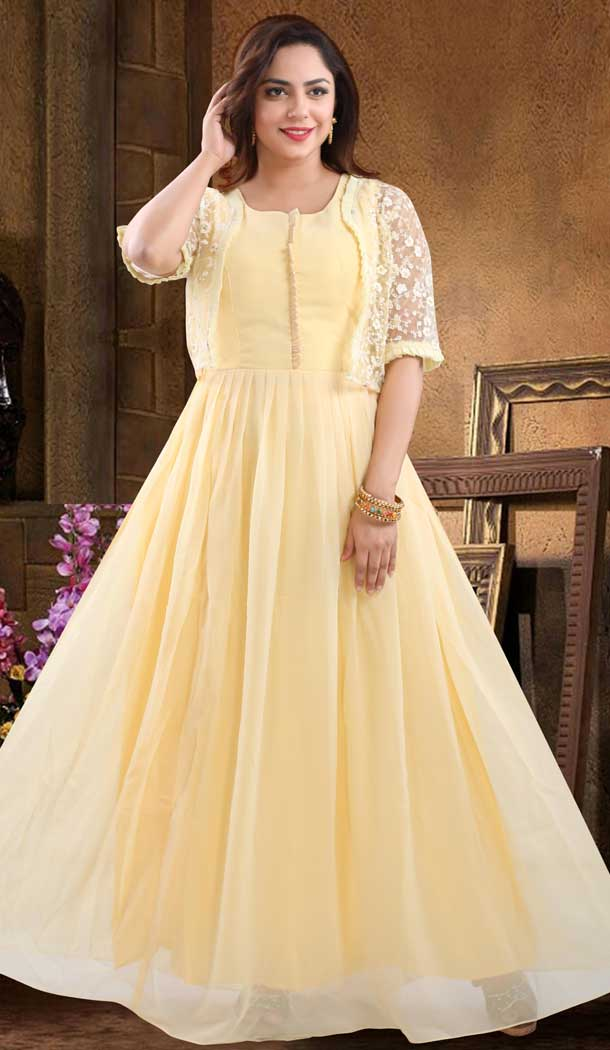 Lovely Yellow Color Georgette Heavy Designer Readymade Salwat Suit -810298833