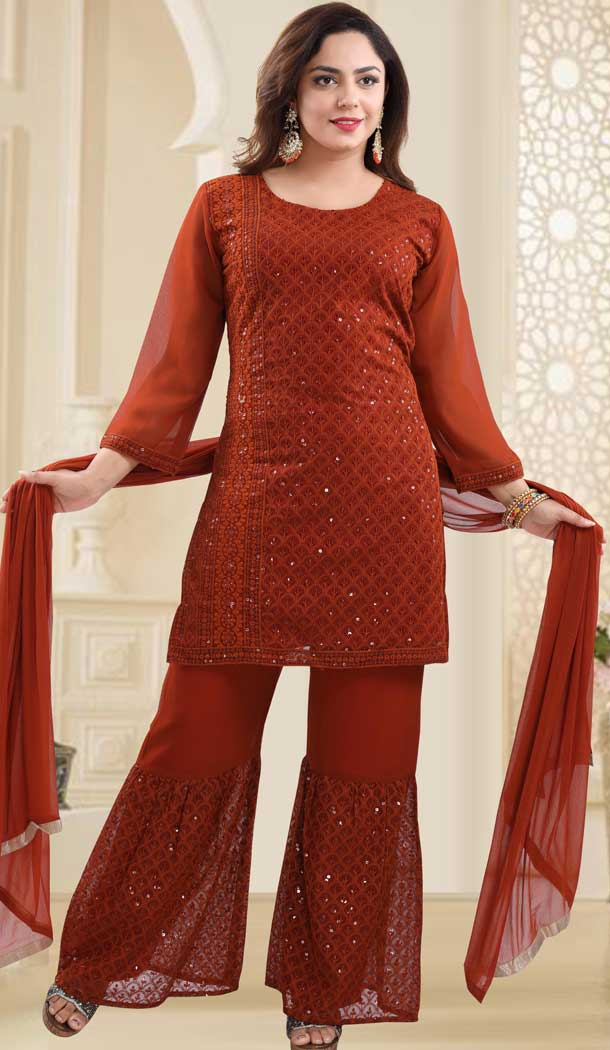 Orange Color Georgette Heavy Designer Readymade Salwat Suit -810298835