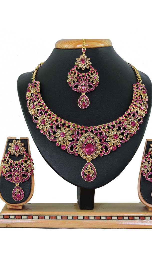 Multi Color Alloy Stone Designer Traditional Necklaces Set -807898578