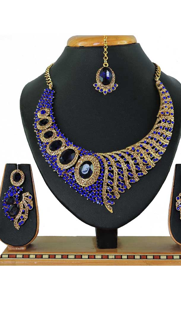 Perfect Look Multi Color Alloy Stone Designer Traditional Necklaces Set -807898580