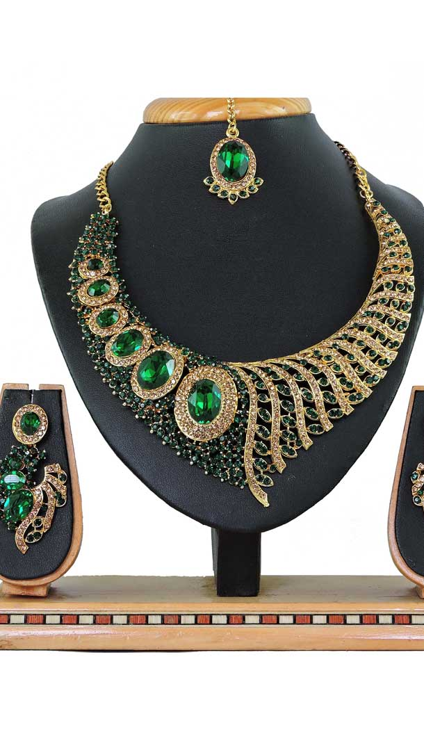 Attractive Multi Color Alloy Stone Designer Traditional Necklaces Set -807898582
