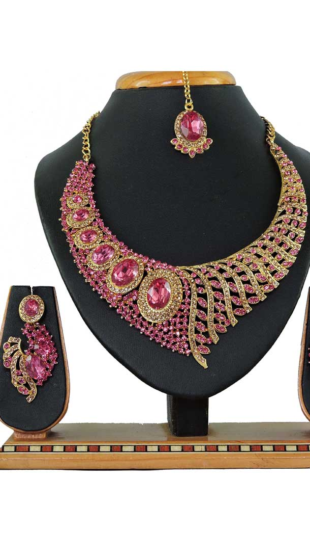 Multi Color Alloy Stone Designer Traditional Necklaces Set -807898587