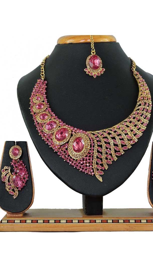 Multi Color Alloy Stone Designer Traditional Necklaces Set -807898587