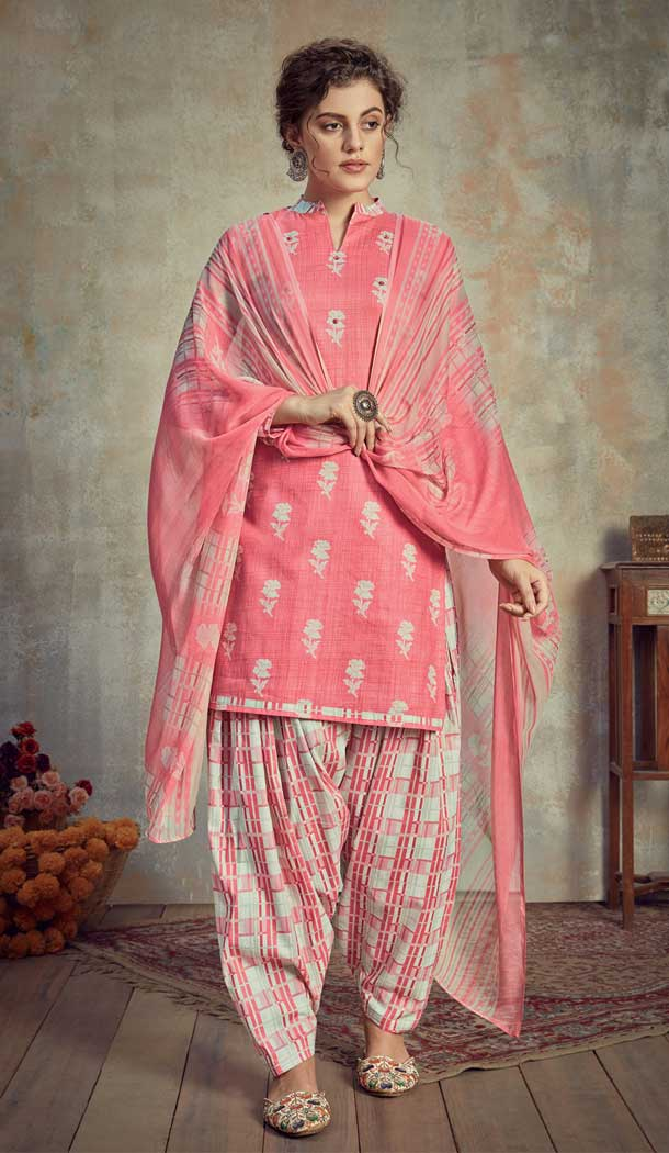 Light pink Color Pure Cambric Cotton Casual Wear Punajbi Patiyal Suit -810398836