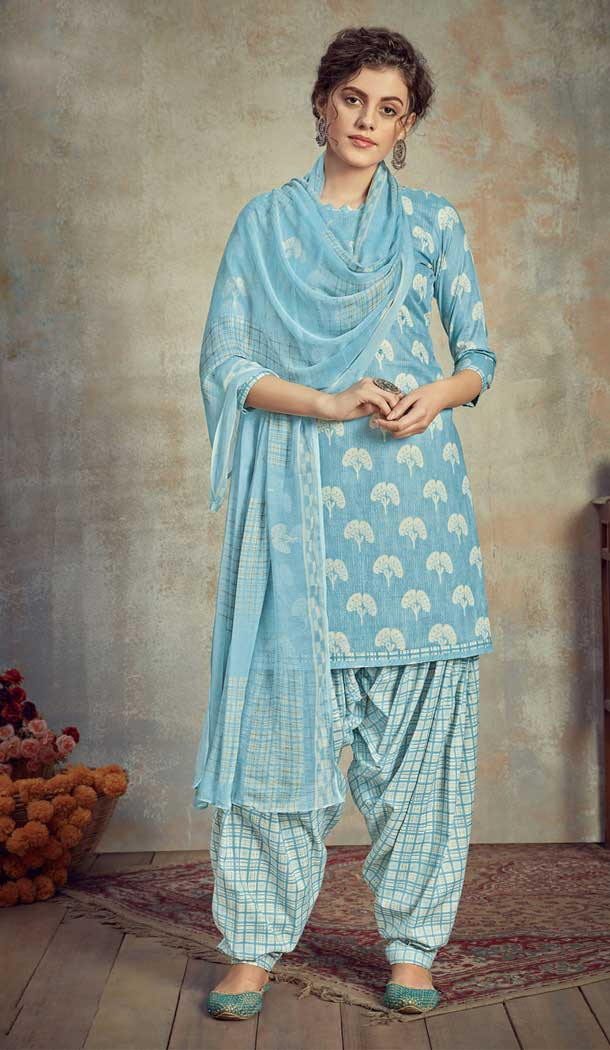 Sky Color Pure Cambric Cotton Casual Wear Punajbi Patiyal Suit -810398838