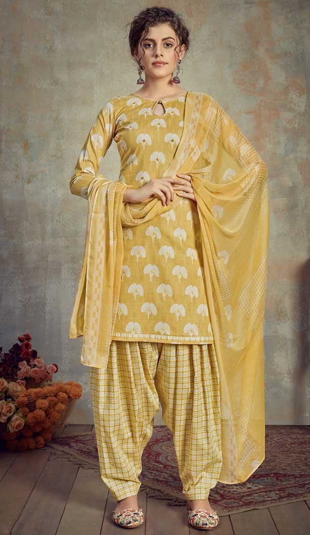 Yellow Color Pure Cambric Cotton Casual Wear Punajbi Patiyal Suit -810398841