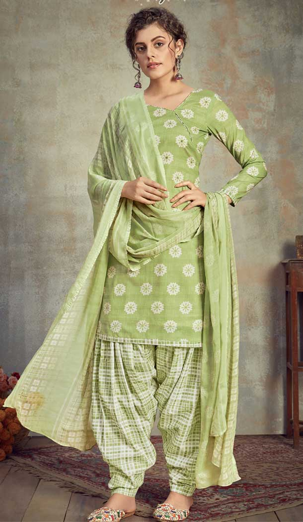 Light green Color Pure Cambric Cotton Casual Wear Punajbi Patiyal Suit -810398843