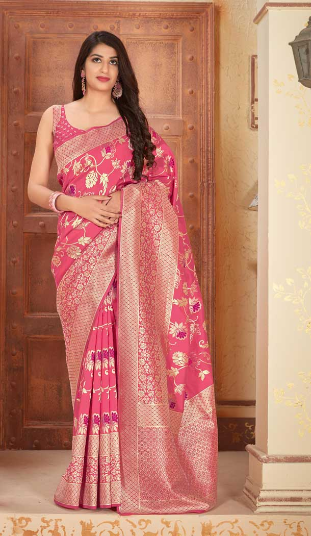 Pink Color Banarasi Soft Silk Designer Designer Traditional Wear Saree -810898874