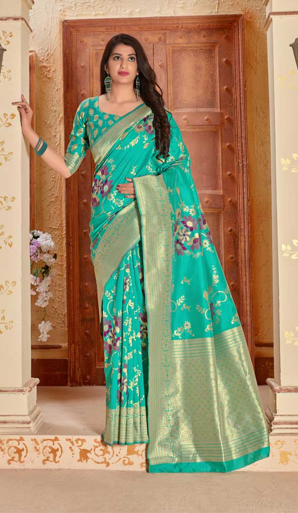 Aqua Green Color Banarasi Soft Silk Designer Designer Traditional Wear Saree -810898875