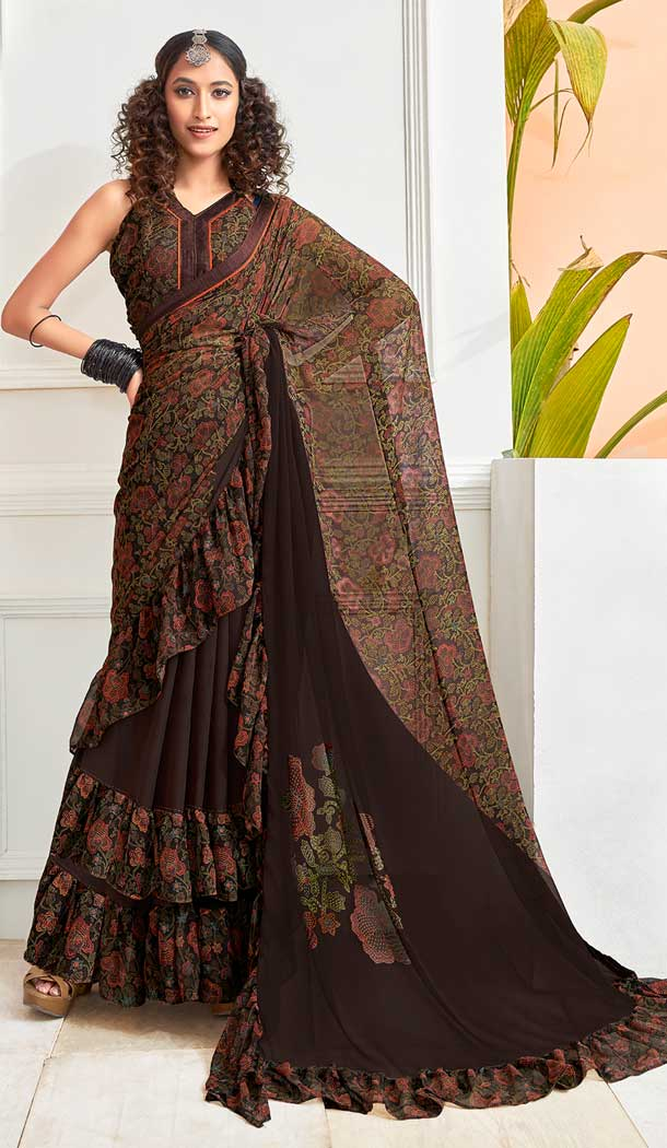 Brown Color Chiffon Designer Party Wear Ruffle Saree Blouse -811898980