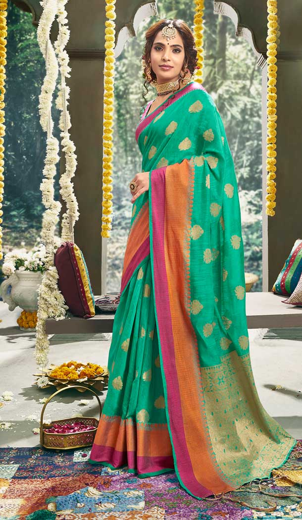 Green Color Cotton Based Fancy Casual Festive Wear Saree -815299250