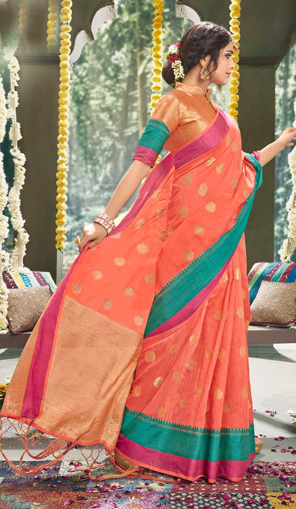 Gajari Color Cotton Based Fancy Casual Festive Wear Saree -815299252