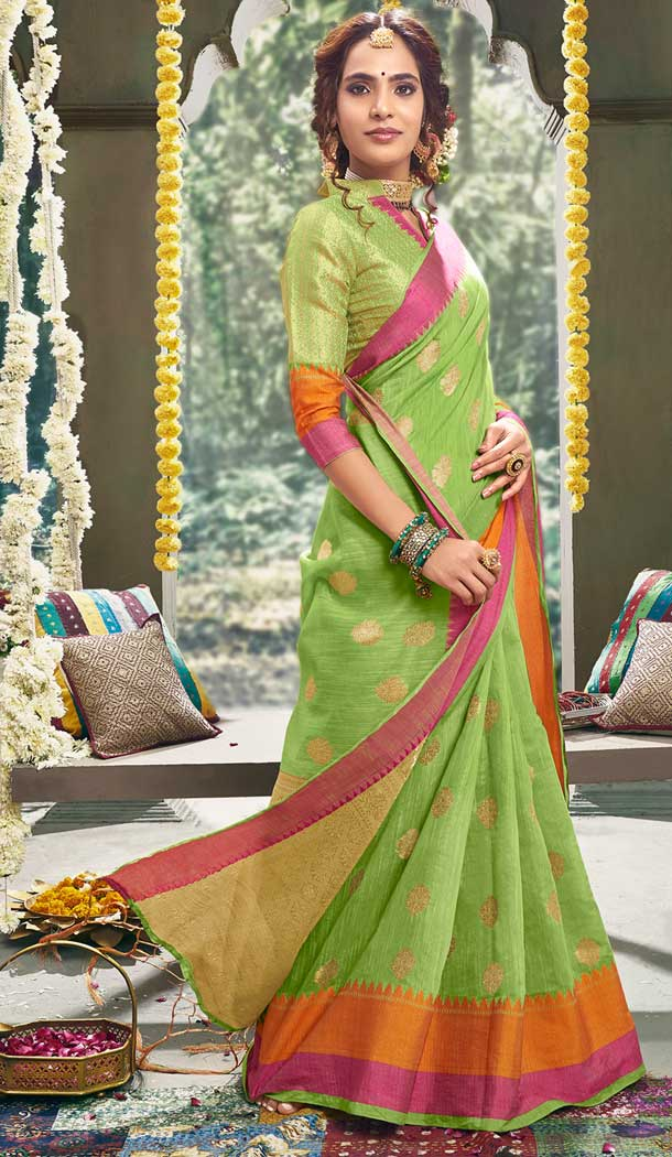 Light Green Color Cotton Based Fancy Casual Festive Wear Saree -815299254