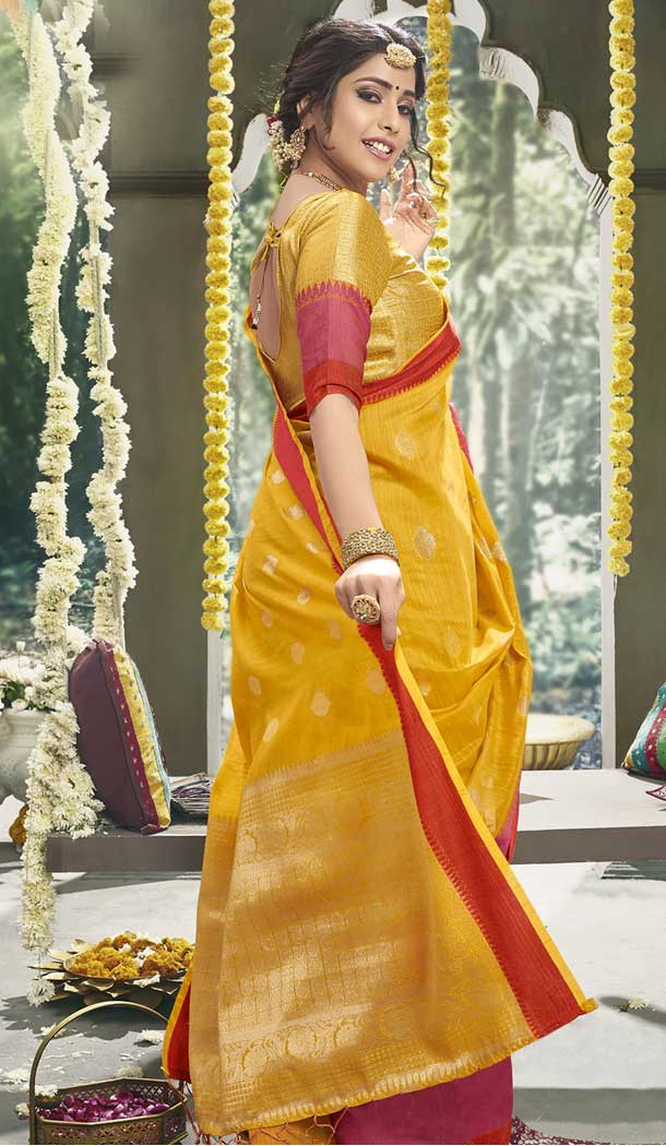 Splendorous Yellow Color Cotton Based Fancy Casual Festive Wear Saree -815299256