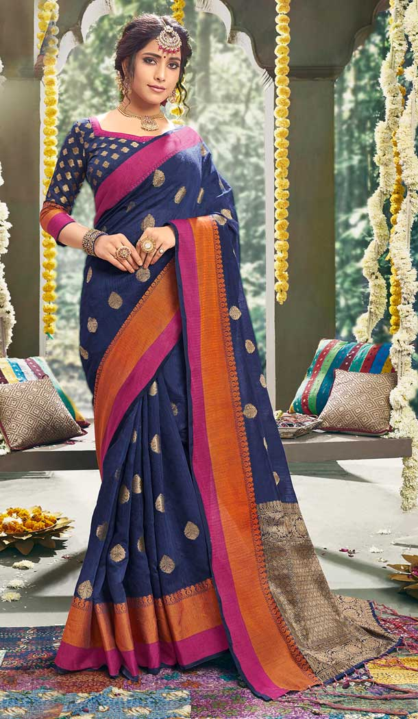 Vivacious Blue Color Cotton Based Fancy Casual Festive Wear Saree -815299257
