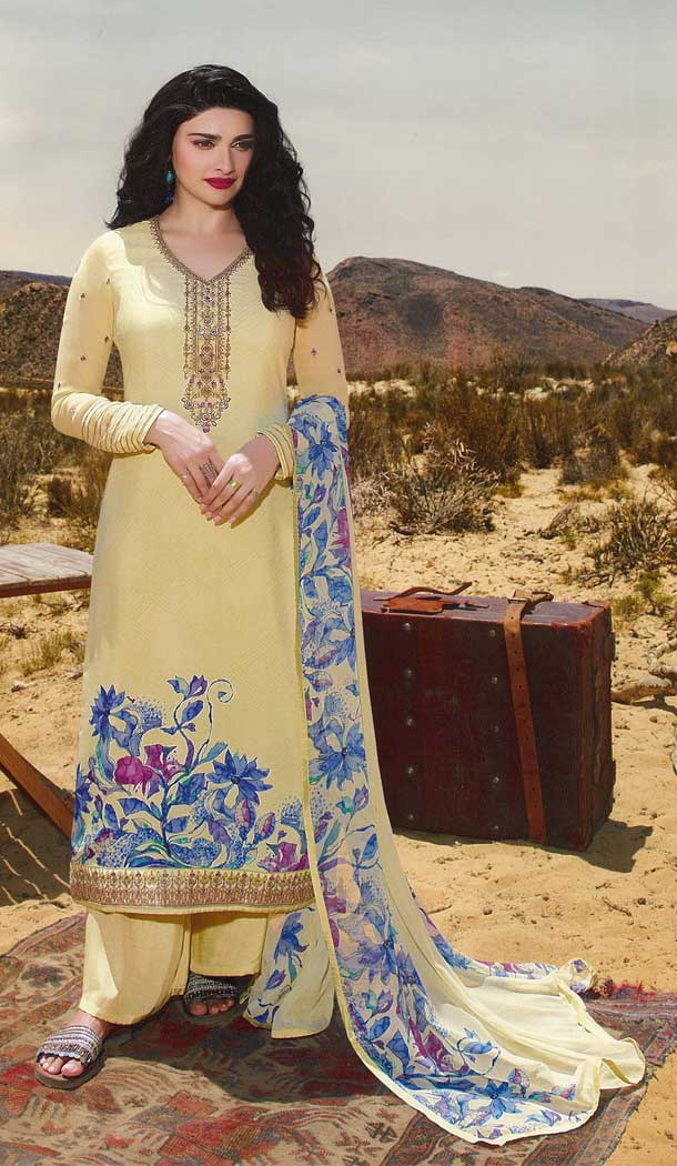 Bollywood Celebrity Prachi Design Yellow Color Royal Crepe Party Dress -815499265