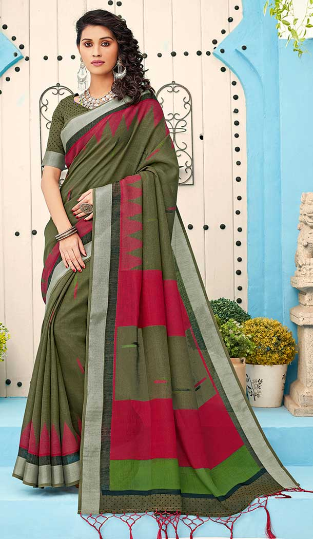 Green Color Linen Cotton Print Casual Office Wear Saree Blouse -819299624